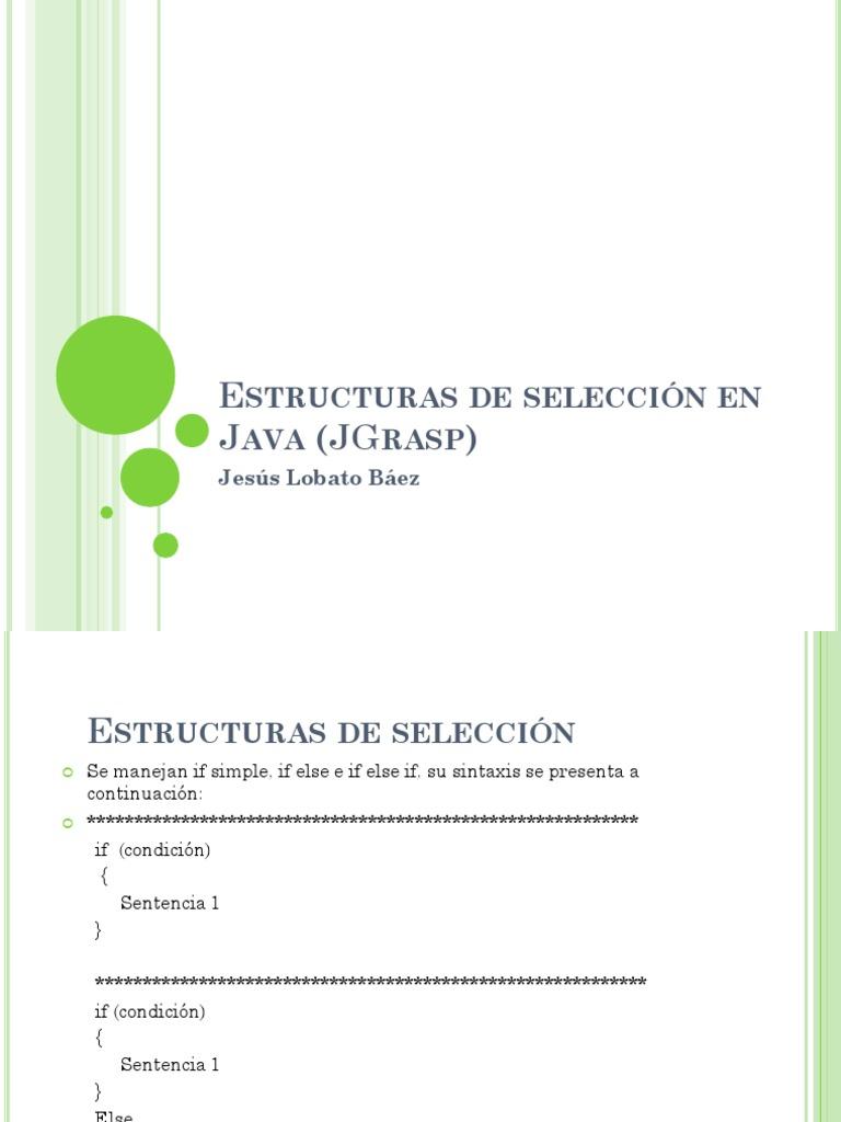 Estructuras De Seleccion En Java