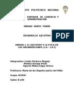 Unidad I El Ejecutivo y La Etica en Las Organizaciones