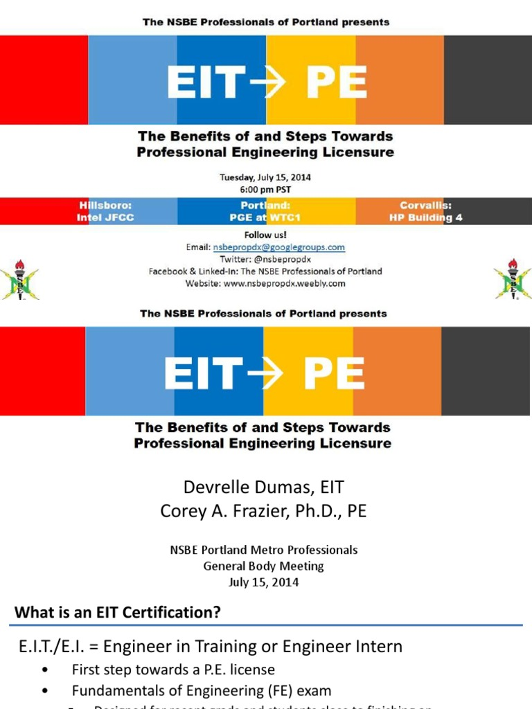 Eit To Pe Presentation Engineer Professional Certification