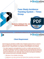 Case Study for Incidence Tracking System