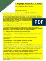 Charte Des Droits Du Peuple Kabyle Et de La Kabylie