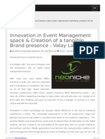 Innovation in Event Management Space & Creation of a Tangible Brand Presence - Valay Lakdavala