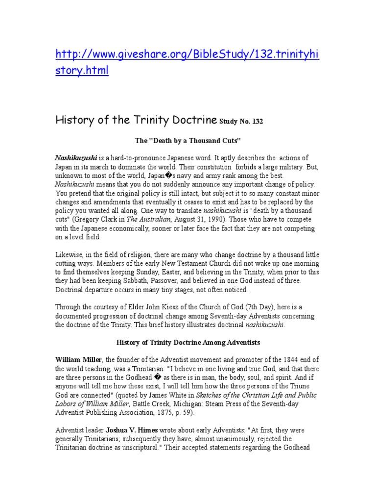 History of the Trinity Doctrine Study No doc | Trinity | Baptism