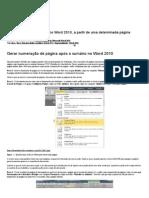 Inserir Números de Página No Word 2010, A Partir de Uma Determinada Página _ Eduardo Taka