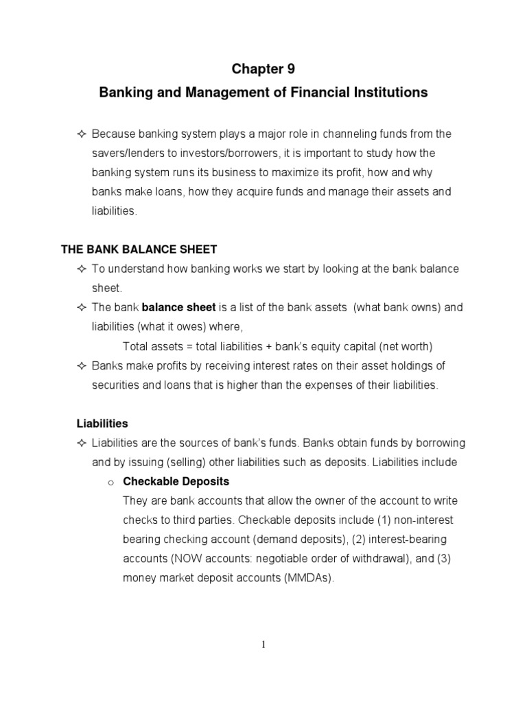 chapter banking and management of financial institutions chapter 9 banking and management of financial institutions deposit account