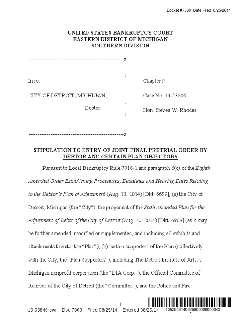 82514 stipulated joint final pretrial order by city and certain 82514 stipulated joint final pretrial order by city and certain objectors clean water act bankruptcy publicscrutiny Image collections