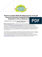 Shred-it to Provide Mobile Shredding Services at the 2nd Annual CIG Insurance Community Safety Saturday™ September 6, 2014, in Monterey, California