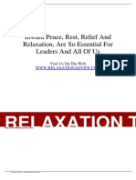 Article - Inward Peace, Rest, Relief and Relaxation, Are So Essential for Leaders and All of Us