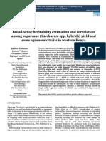 Broad-sense Heritability Estimation and Correlation Among Sugarcane (