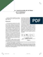 Alteraciones y Preserveracion de La Firma en El Alzheimer