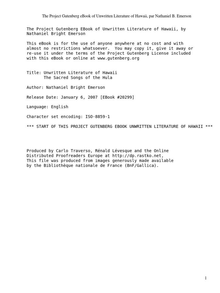 Unwritten literature of hawaiithe sacred songs of the hula by unwritten literature of hawaiithe sacred songs of the hula by emerson nathaniel bright 1839 1915 prayer sacrifice fandeluxe Gallery