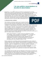 La Posibilidad de Una Política Emancipadora en La Filosofía de Alain Badiou