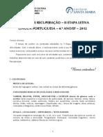 Roteiro de Recuperação Lp II Etapa 4.º Ano Ef 2012