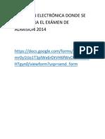 Dirección Electrónica Donde Se Encuentra El Exámen de Admisión 2014