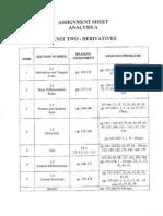 Analysis Assignment Sheet 2014