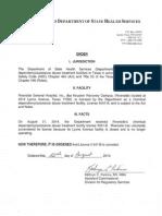 Riverside Surrender Order | Aug. 22, 2014