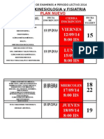 Calendario Inscripciones Septiembre