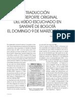 Traducción del reporte original del ruido escuchado en Santafé de Bogotá