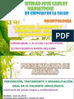 Prevencion, TX y Rehabilitacion Oral en Paciente Oncologico