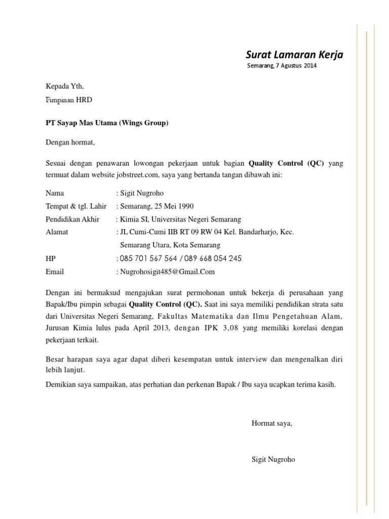 Surat Lamaran Pekerjaan Pt Sayap Mas Utama Wings Group