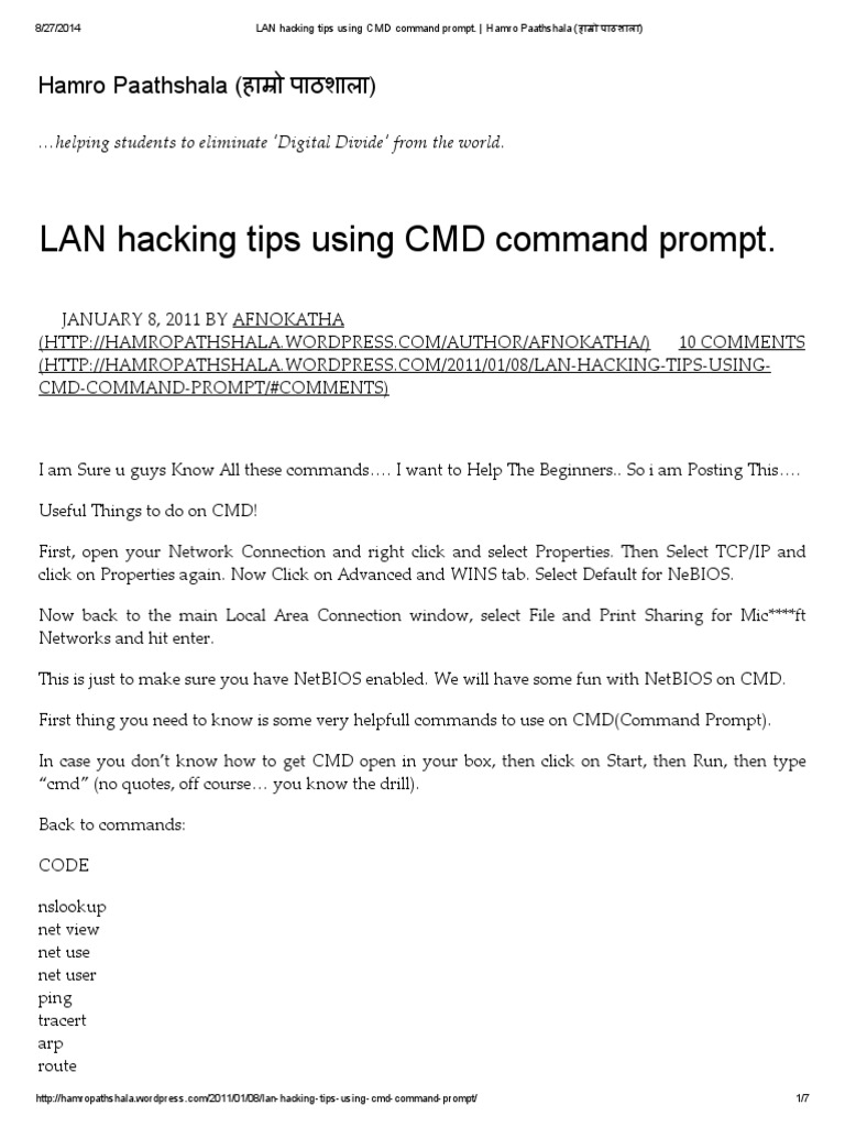 LAN Hacking Tips Using CMD Command Prompt   Computer Networking