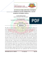 AN INVESTIGATION INTO FACTORS AFFECTING UNIVERSITY EMPLOYEE COMMERCIAL BANKS' BORROWING