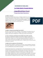 Dengue(Break Bone Fever) - FAQ, DPH-TAMIL NADU, India