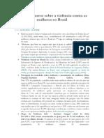 Alguns Números Sobre a Violência Contra as Mulheres No Brasil