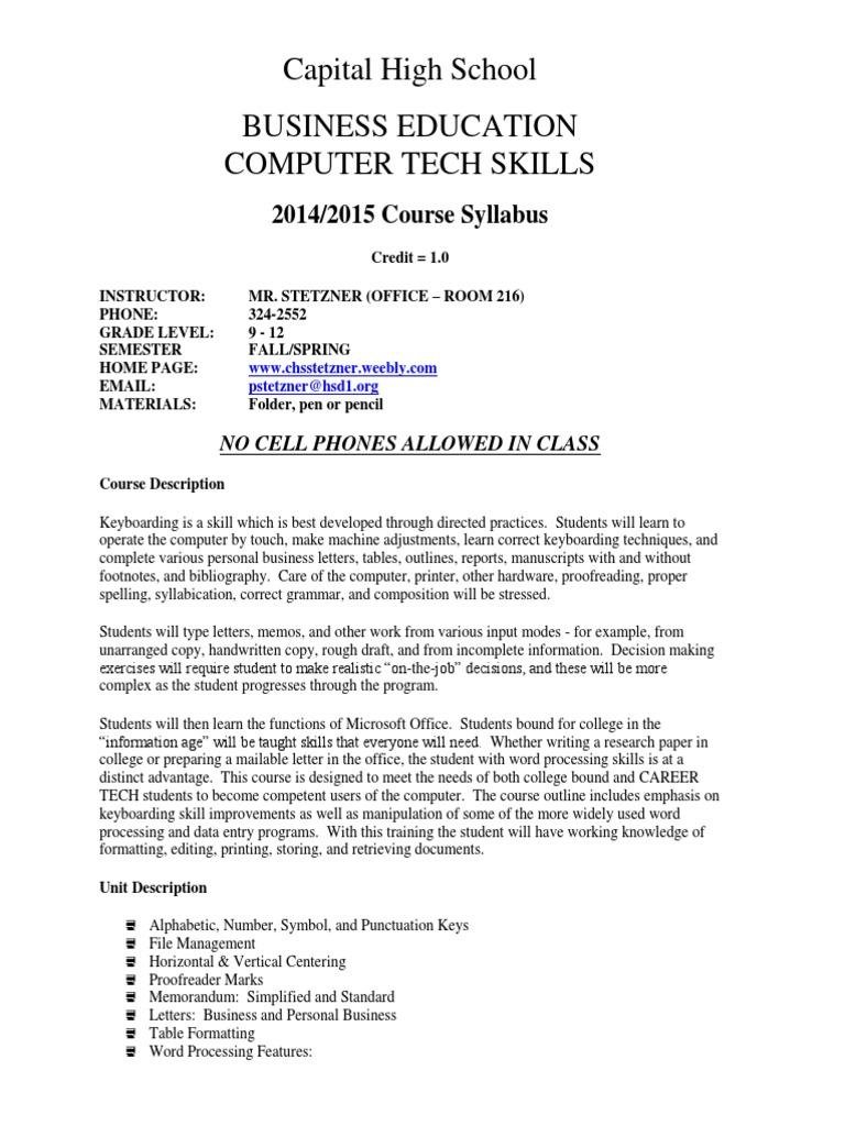 Computertechskillnewssyllabus Word Processor Text