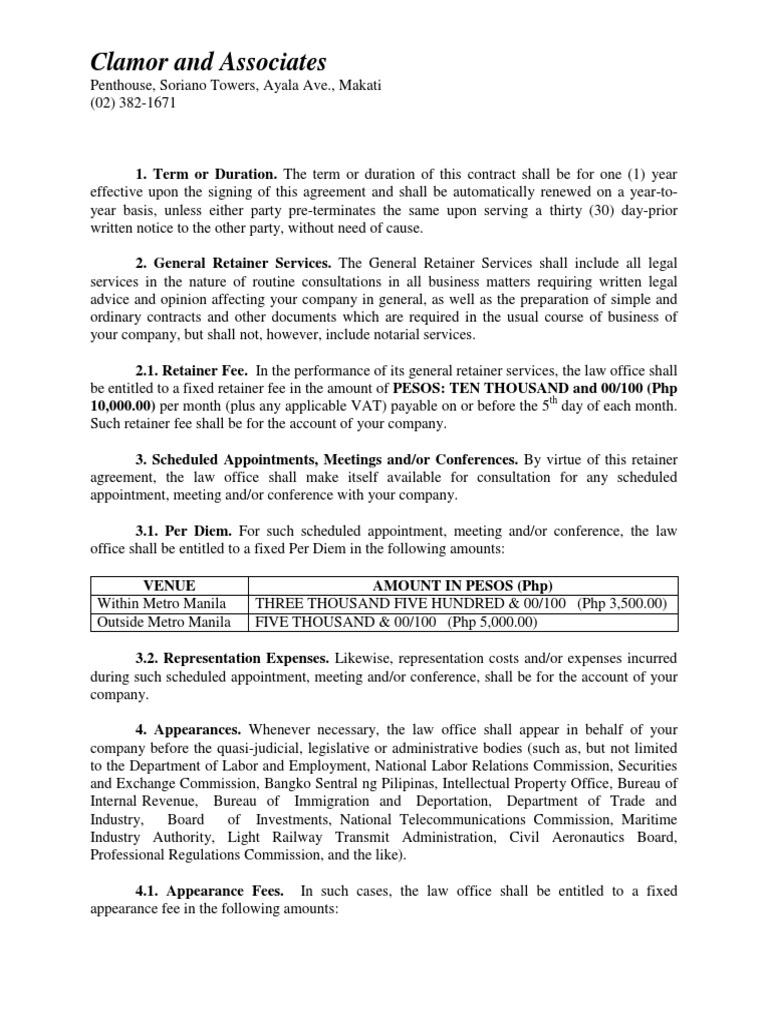 Retainer Agreement 1234 Per Diem Metro Manila