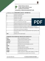 Lista de Comandos Para MATLAB