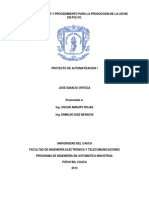 Modelo de Procedimiento y de Proceso de La Leche en Polvo