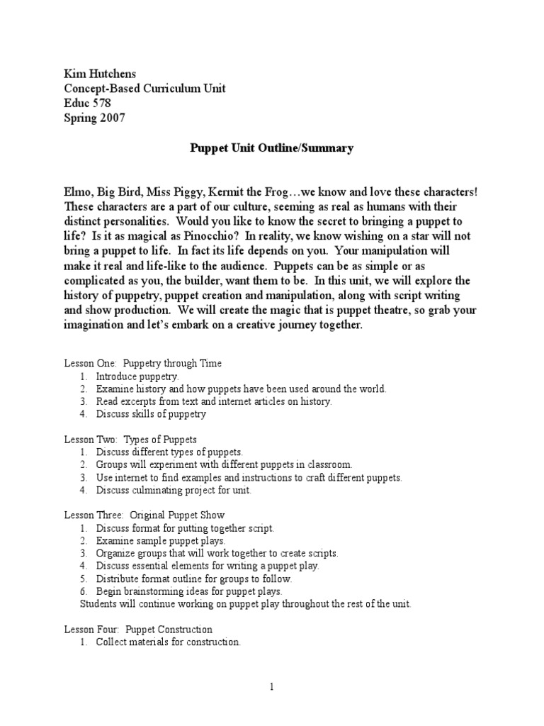 Puppet Unit for Gifted Ed | Puppets | Puppetry