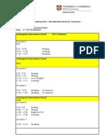 Cambridge Schedule 2009
