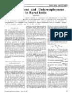 Unemployment and Underemploymentin Rural India