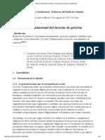 Proteccion Constitucional Del Derecho de Peticion