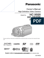 PANASONIC HC-X920 MANUAL FULL