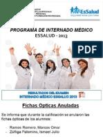 Resultados Del Examen de Internado Médico EsSalud 2013
