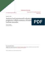 Analytical and Experimental Evaluation of Progressive Collapse Resistance of Reinforced Concrete Structures Serkan Sağıroğlu