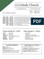 Bulletin for August 31, 2014
