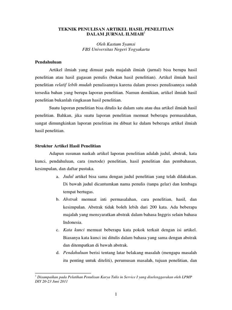 Teknik Penulisan Artikel Ilmiah Hasil Penelitian Dalam Jurnal Ilmiah