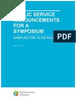 Public Announcements for Symposiums