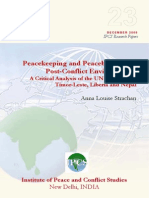 Peacekeeping and Peacebuildwwing in Post-Conflict Environments