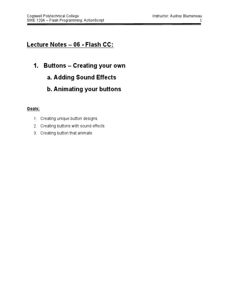 AS3 Button Tutorial | Adobe Flash | Action Script