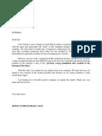 Kelin sample letter