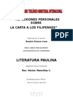Reflexiones Personales Sobre La Carta a Los Filipenses