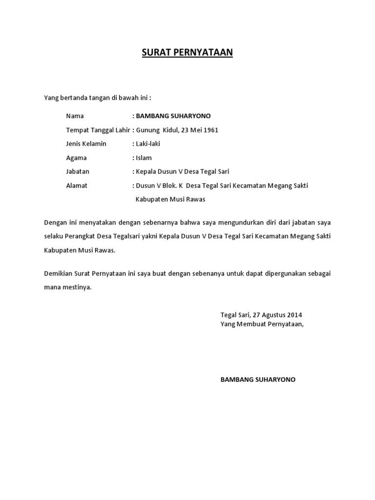 Contoh Surat Pengunduran Diri Anggota Pps