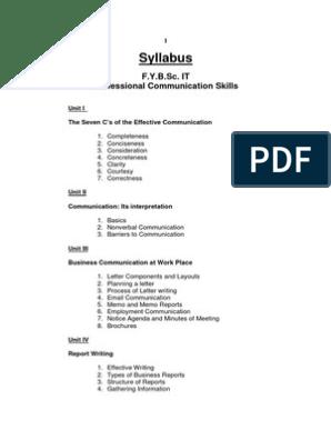 Syllabus: F Y B Sc  IT Professional Communication Skills