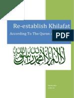 Re-establish Khilafah According to Quran and Sunah