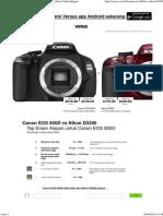Canon EOS 600D vs Nikon D3200 - Kamera Spesifikasi Perbandingan